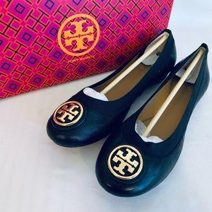 Tory Burch NIB CAROLINE BALLET BLACK Leather ELAST